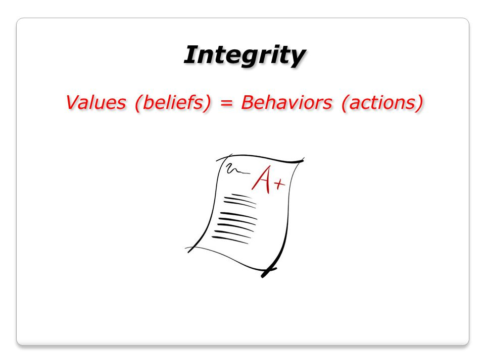 Integrity Values (beliefs) = Behaviors (actions) Integrity Values (beliefs) = Behaviors (actions)