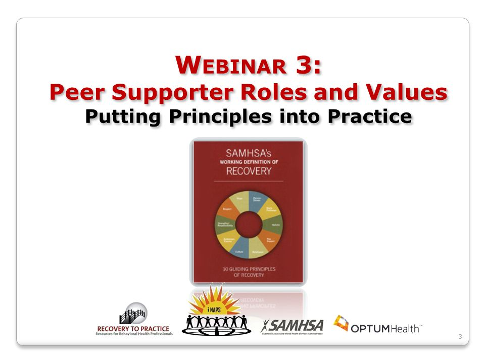 W EBINAR 3: Peer Supporter Roles and Values Putting Principles into Practice 3