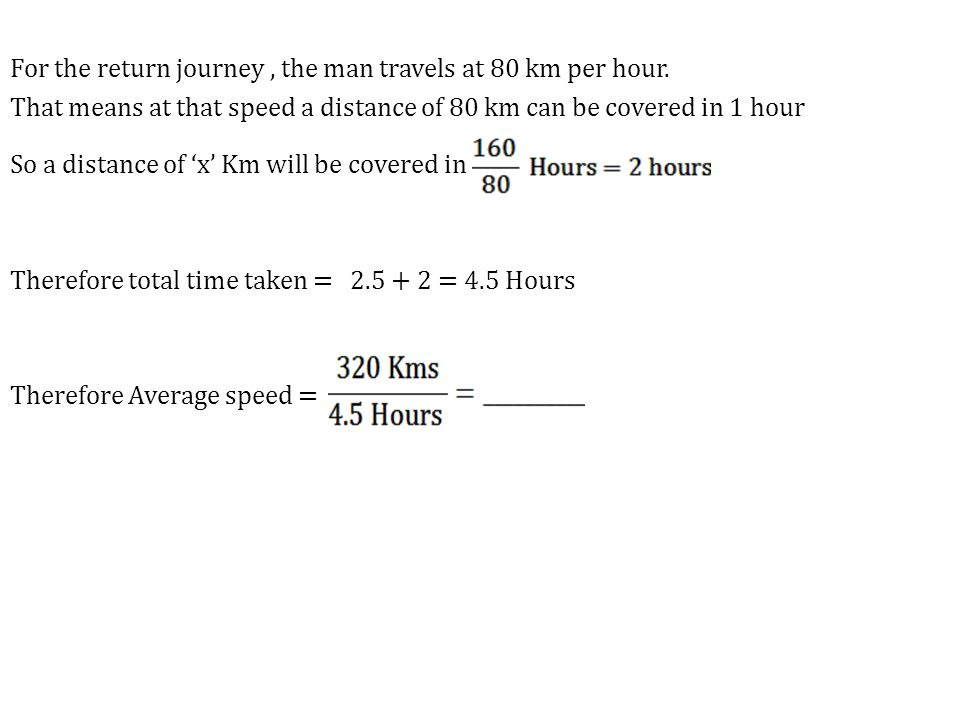 For the return journey, the man travels at 80 km per hour.