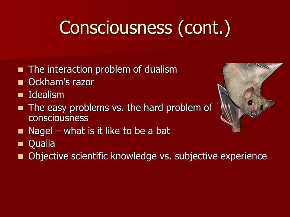 Consciousness (cont.) The interaction problem of dualism The interaction problem of dualism Ockham's razor Ockham's razor Idealism Idealism The easy problems vs.