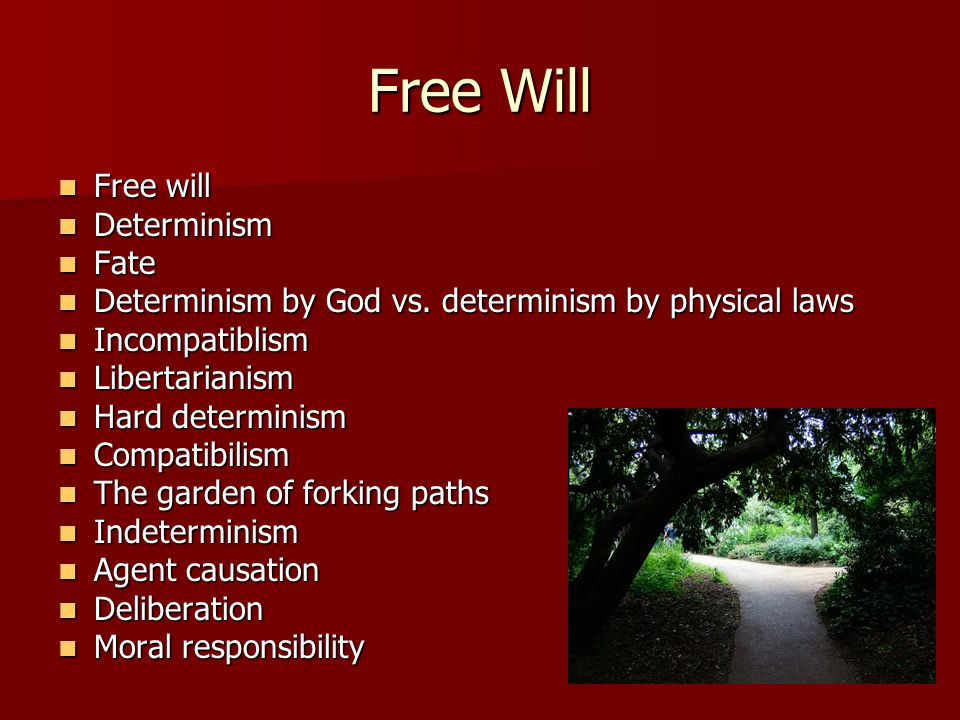 Free Will Free will Free will Determinism Determinism Fate Fate Determinism by God vs.