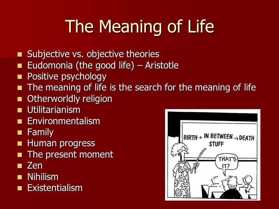 The Meaning of Life Subjective vs. objective theories Subjective vs.