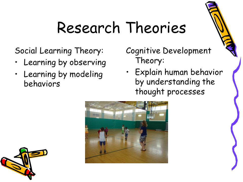 Research Theories Social Learning Theory: Learning by observing Learning by modeling behaviors Cognitive Development Theory: Explain human behavior by understanding the thought processes