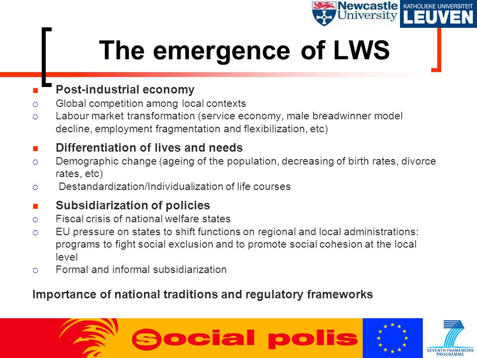 The emergence of LWS Post-industrial economy  Global competition among local contexts  Labour market transformation (service economy, male breadwinner model decline, employment fragmentation and flexibilization, etc) Differentiation of lives and needs  Demographic change (ageing of the population, decreasing of birth rates, divorce rates, etc)  Destandardization/Individualization of life courses Subsidiarization of policies  Fiscal crisis of national welfare states  EU pressure on states to shift functions on regional and local administrations: programs to fight social exclusion and to promote social cohesion at the local level  Formal and informal subsidiarization Importance of national traditions and regulatory frameworks