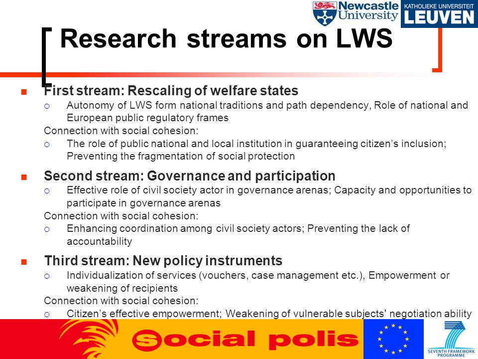 Research streams on LWS First stream: Rescaling of welfare states  Autonomy of LWS form national traditions and path dependency, Role of national and European public regulatory frames Connection with social cohesion:  The role of public national and local institution in guaranteeing citizen's inclusion; Preventing the fragmentation of social protection Second stream: Governance and participation  Effective role of civil society actor in governance arenas; Capacity and opportunities to participate in governance arenas Connection with social cohesion:  Enhancing coordination among civil society actors; Preventing the lack of accountability Third stream: New policy instruments  Individualization of services (vouchers, case management etc.), Empowerment or weakening of recipients Connection with social cohesion:  Citizen's effective empowerment; Weakening of vulnerable subjects negotiation ability