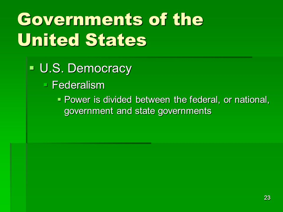 23 Governments of the United States  U.S.