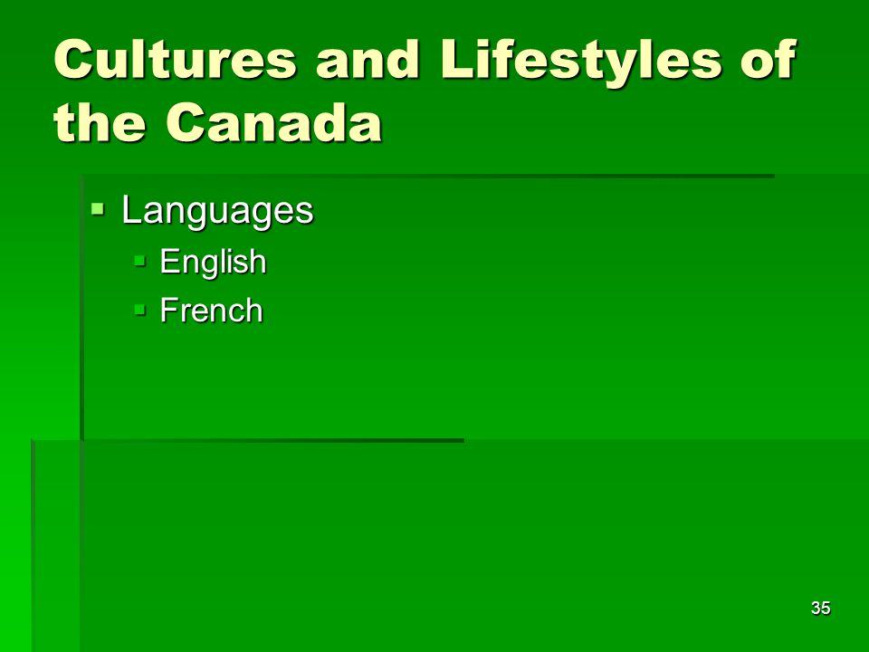 35 Cultures and Lifestyles of the Canada  Languages  English  French