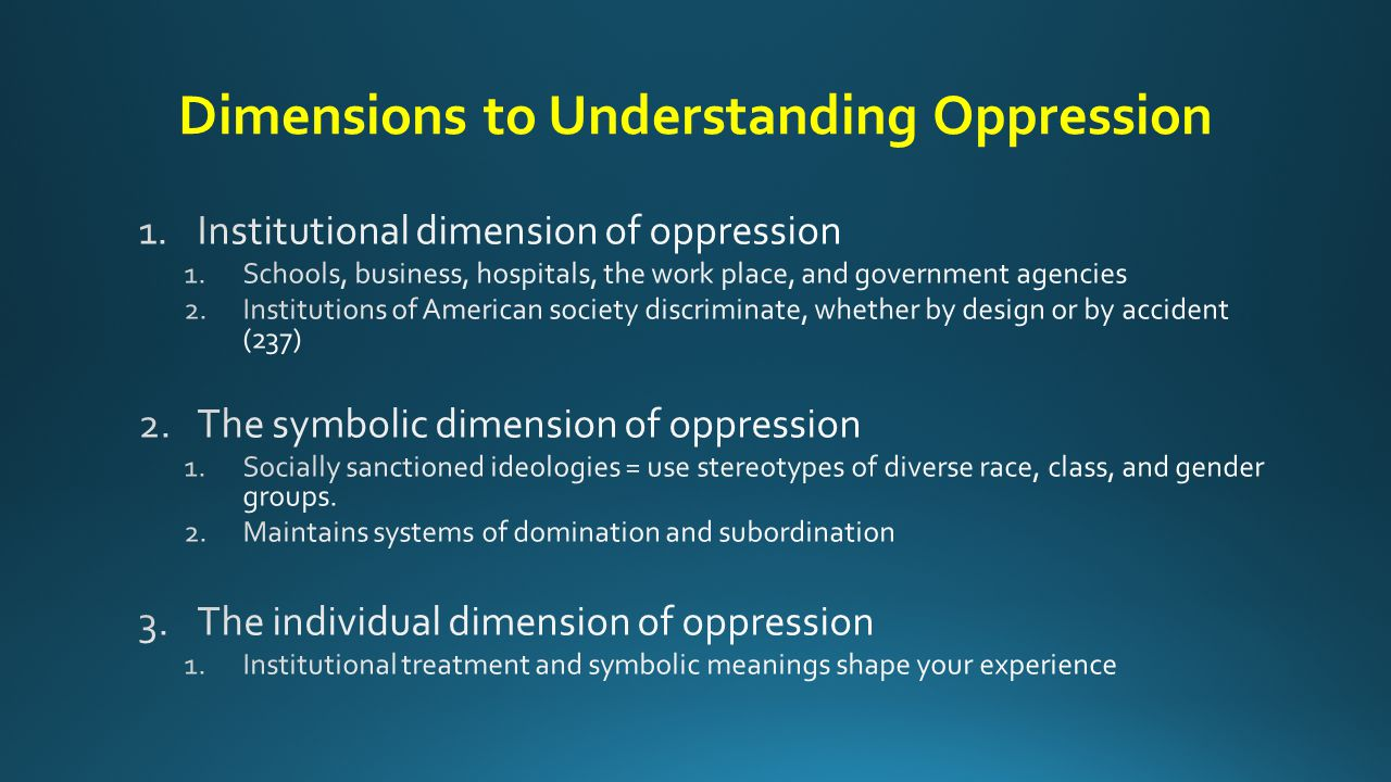 Dimensions to Understanding Oppression