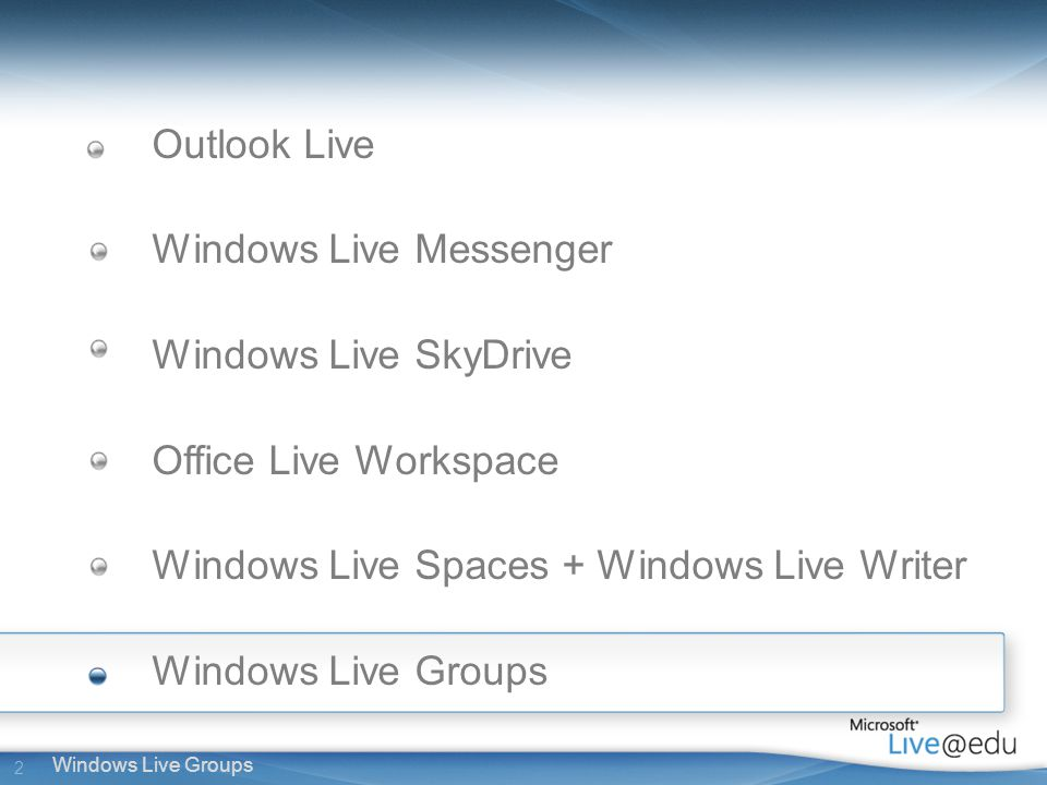 2 Windows Live Groups Outlook Live Windows Live Messenger Windows Live SkyDrive Office Live Workspace Windows Live Spaces + Windows Live Writer Windows Live Groups