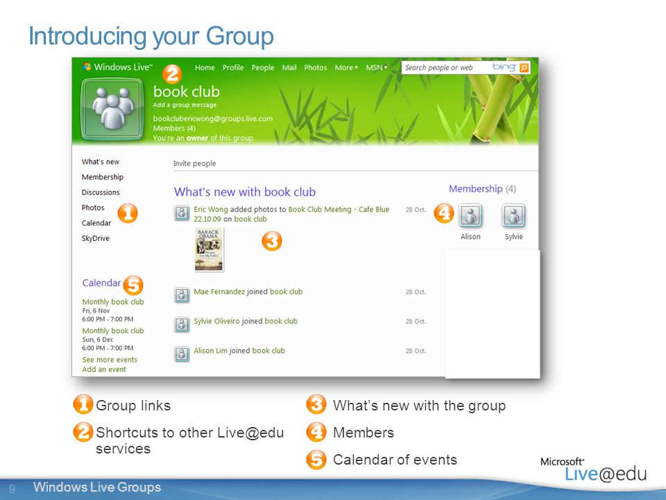 9 Windows Live Groups Introducing your Group Group links Shortcuts to other services What's new with the group Members Calendar of events