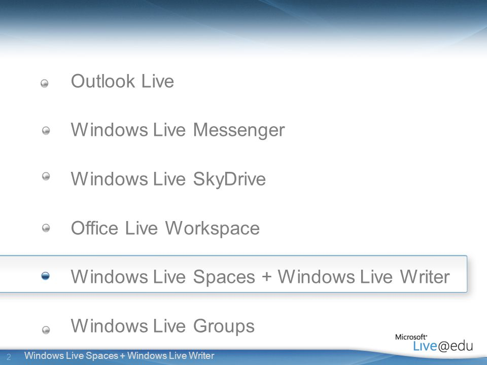2 Windows Live Spaces + Windows Live Writer Outlook Live Windows Live Messenger Windows Live SkyDrive Office Live Workspace Windows Live Spaces + Windows Live Writer Windows Live Groups