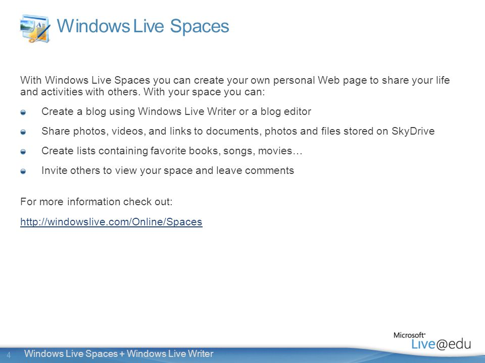 4 Windows Live Spaces + Windows Live Writer Windows Live Spaces With Windows Live Spaces you can create your own personal Web page to share your life and activities with others.