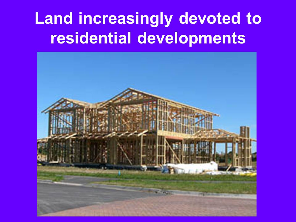 Land increasingly devoted to residential developments