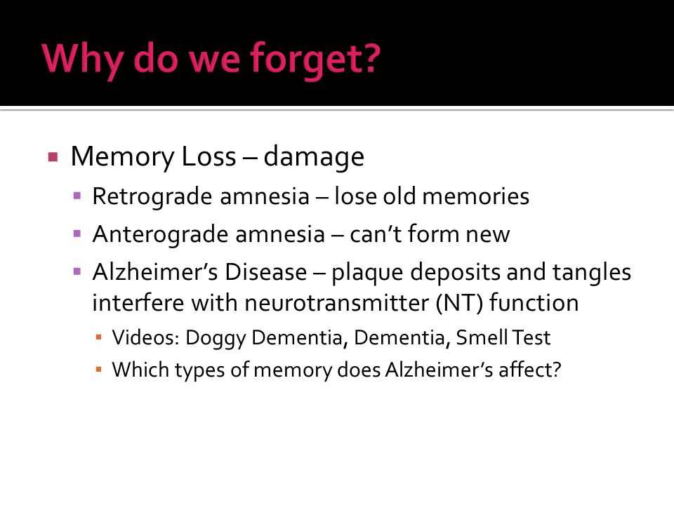  Memory Loss – damage  Retrograde amnesia – lose old memories  Anterograde amnesia – can't form new  Alzheimer's Disease – plaque deposits and tangles interfere with neurotransmitter (NT) function ▪ Videos: Doggy Dementia, Dementia, Smell Test ▪ Which types of memory does Alzheimer's affect