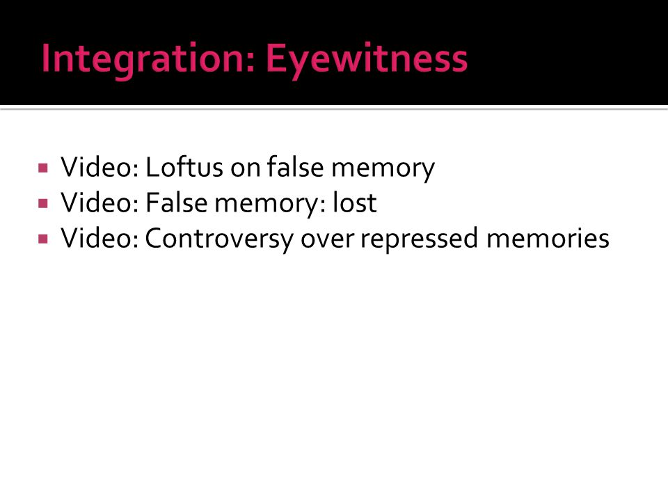  Video: Loftus on false memory  Video: False memory: lost  Video: Controversy over repressed memories