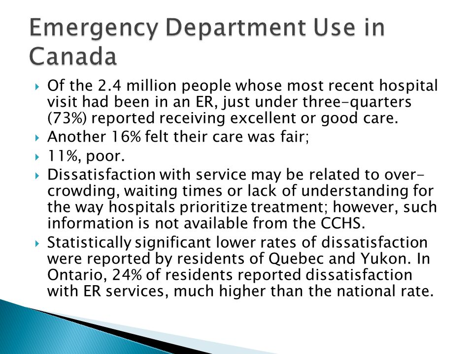  Of the 2.4 million people whose most recent hospital visit had been in an ER, just under three-quarters (73%) reported receiving excellent or good care.