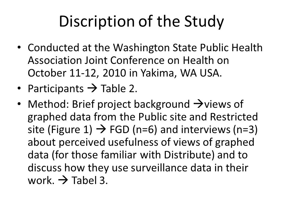 Discription of the Study Conducted at the Washington State Public Health Association Joint Conference on Health on October 11-12, 2010 in Yakima, WA USA.