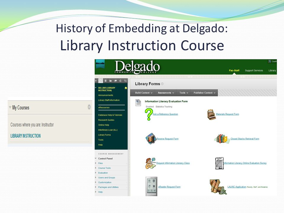 History of Embedding at Delgado: Library Instruction Course
