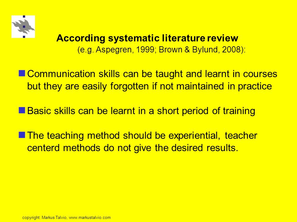 According systematic literature review (e.g.