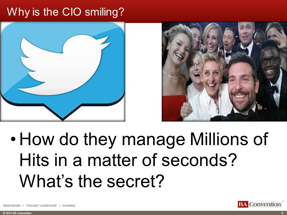 © 2014 BA Convention6 Click to edit Master text styles Click to edit header Why is the CIO smiling.