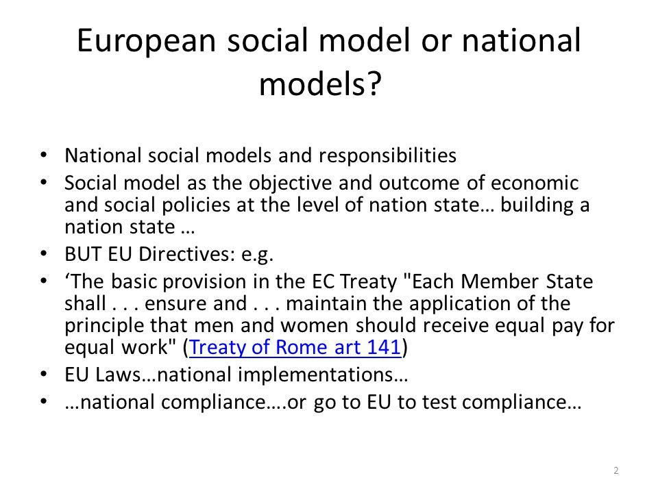 European social model or national models.