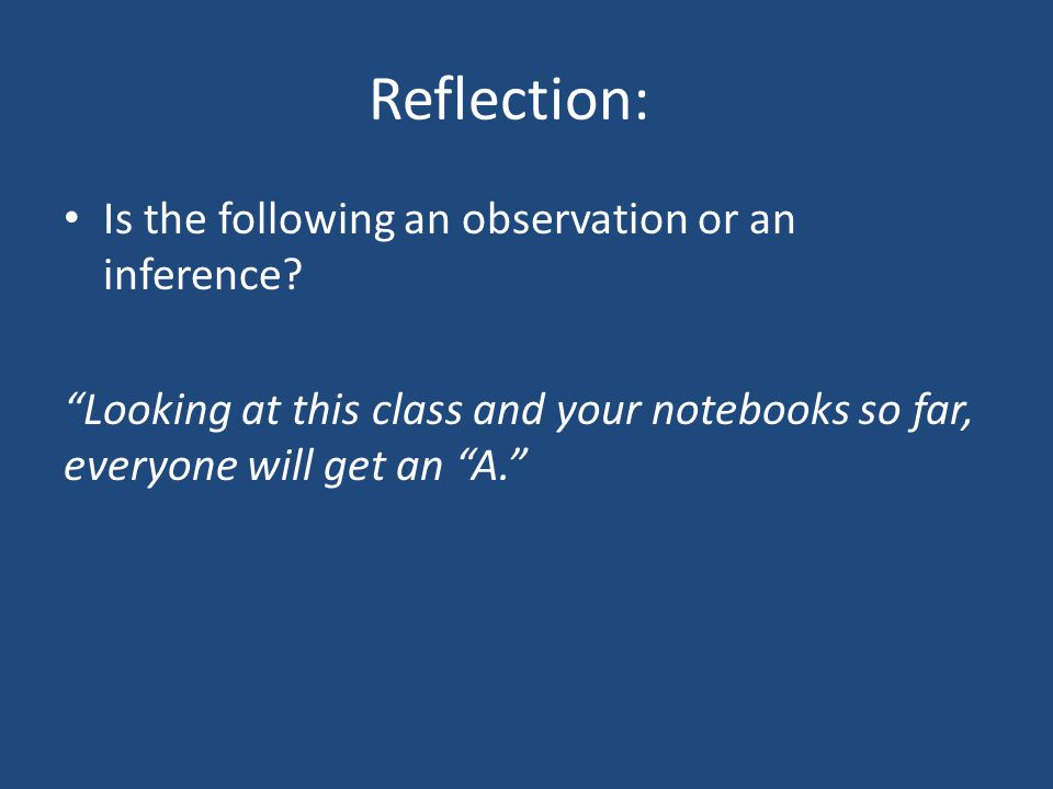 Reflection: Is the following an observation or an inference.