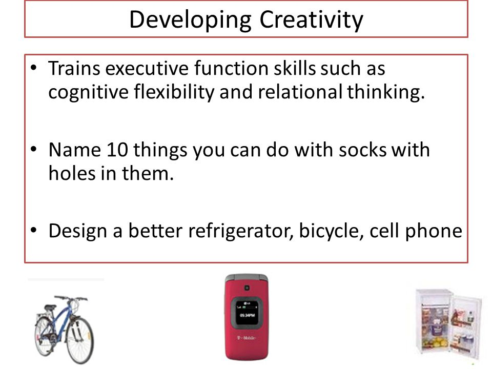 Developing Creativity Trains executive function skills such as cognitive flexibility and relational thinking.
