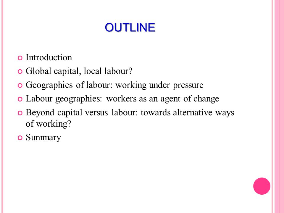 OUTLINE Introduction Global capital, local labour.