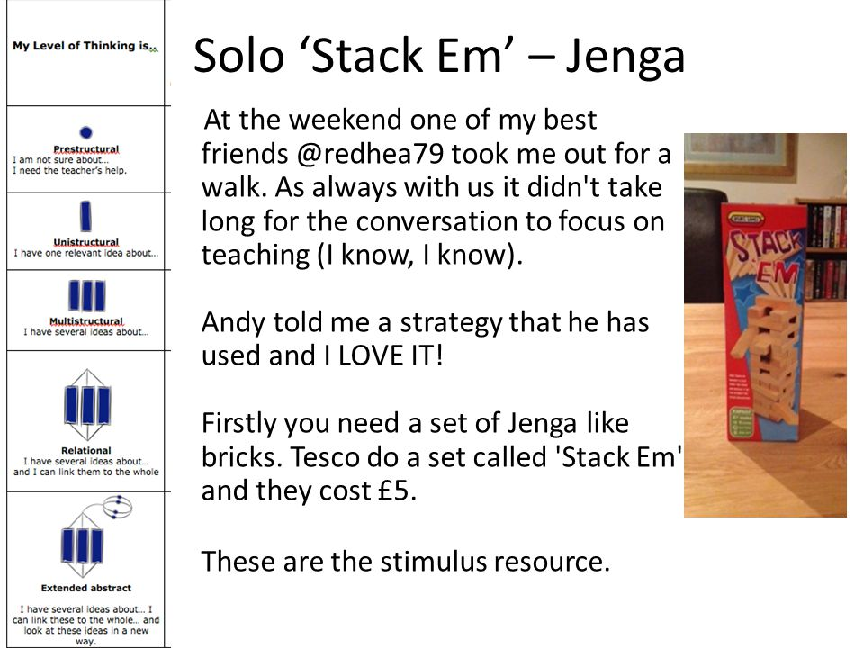Solo 'Stack Em' – Jenga At the weekend one of my best friends @redhea79 took me out for a walk.