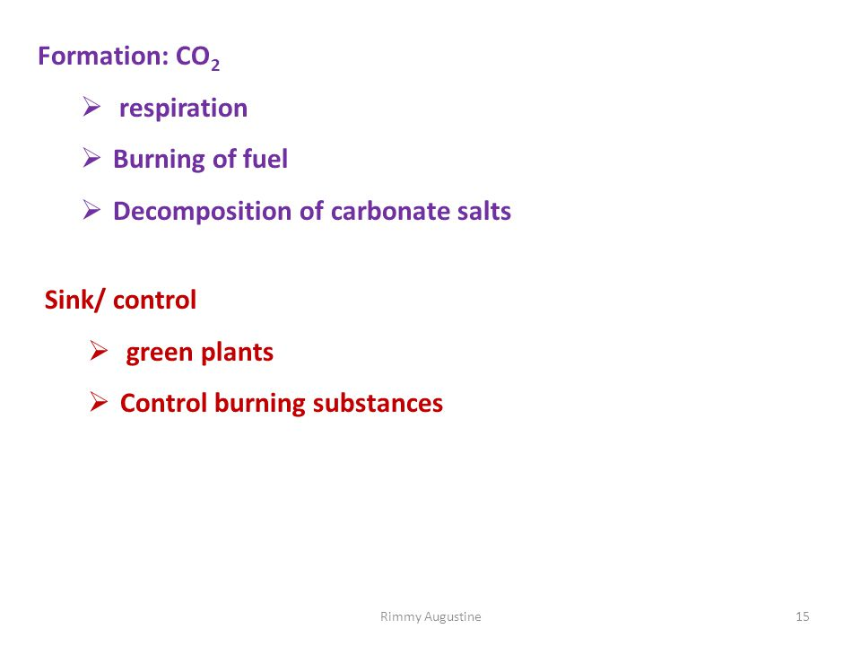 Formation: CO 2  respiration  Burning of fuel  Decomposition of carbonate salts Sink/ control  green plants  Control burning substances 15Rimmy Augustine