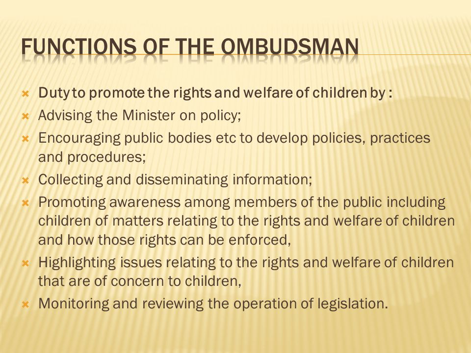  Duty to promote the rights and welfare of children by :  Advising the Minister on policy;  Encouraging public bodies etc to develop policies, practices and procedures;  Collecting and disseminating information;  Promoting awareness among members of the public including children of matters relating to the rights and welfare of children and how those rights can be enforced,  Highlighting issues relating to the rights and welfare of children that are of concern to children,  Monitoring and reviewing the operation of legislation.