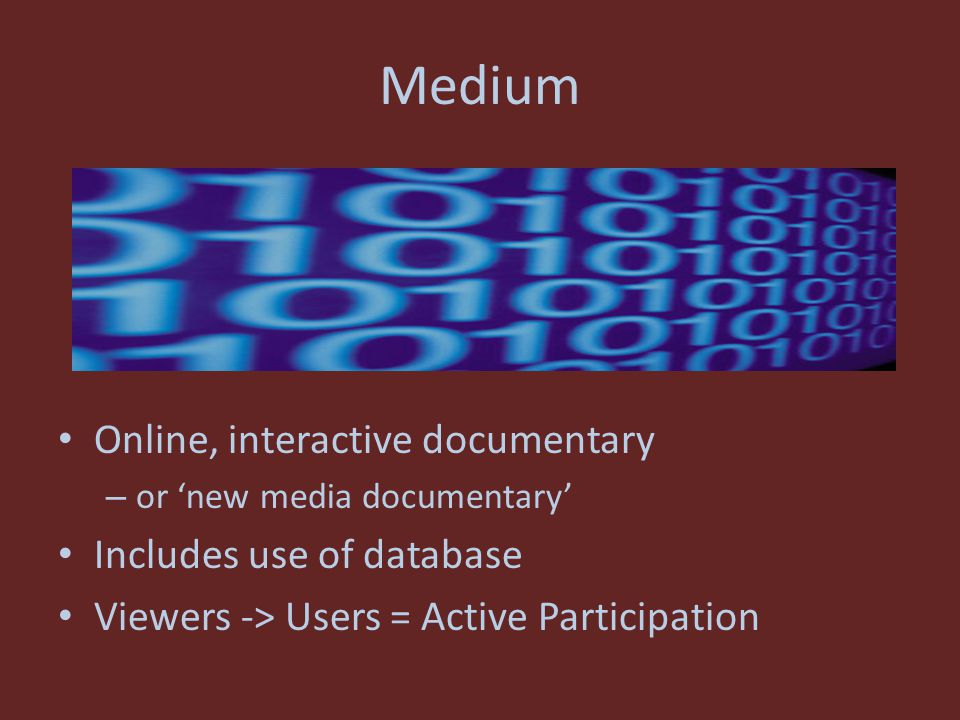 Medium Online, interactive documentary – or 'new media documentary' Includes use of database Viewers -> Users = Active Participation