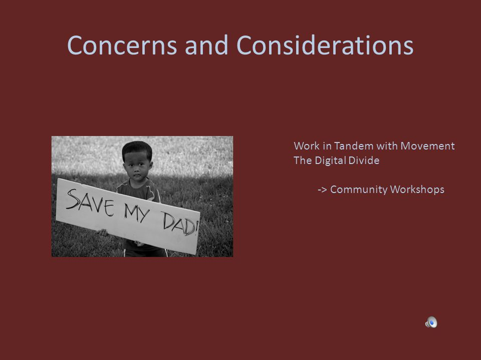 Concerns and Considerations Work in Tandem with Movement The Digital Divide -> Community Workshops