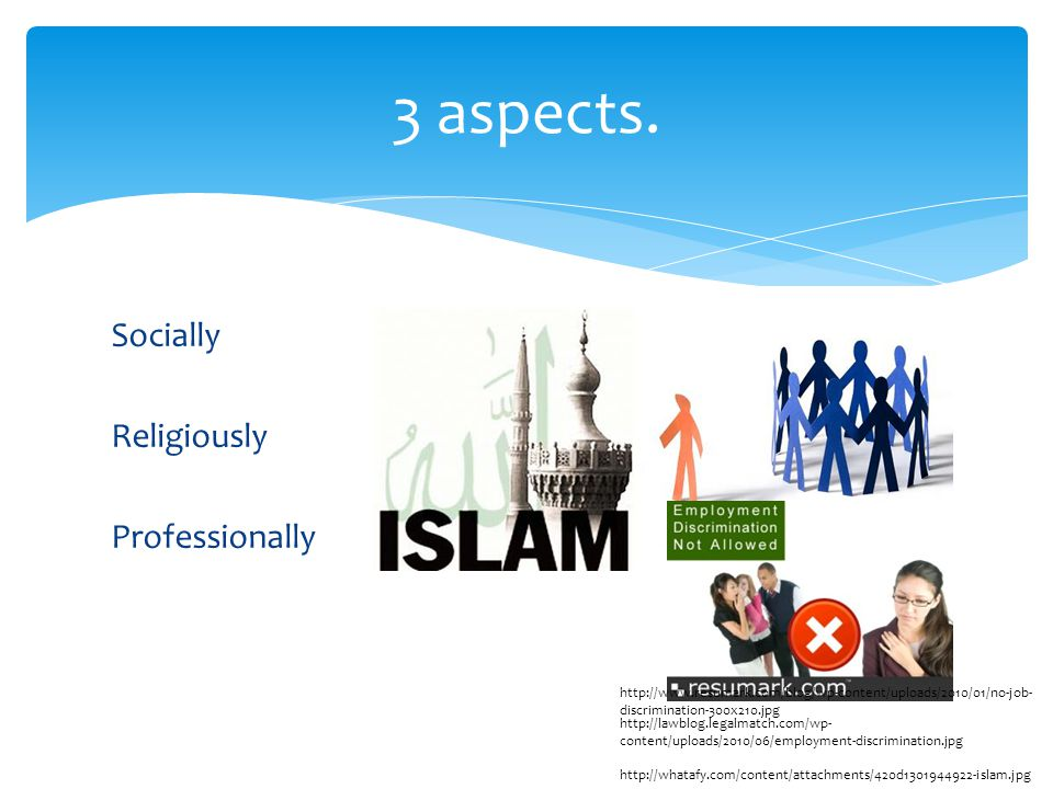 Socially Religiously Professionally 3 aspects.