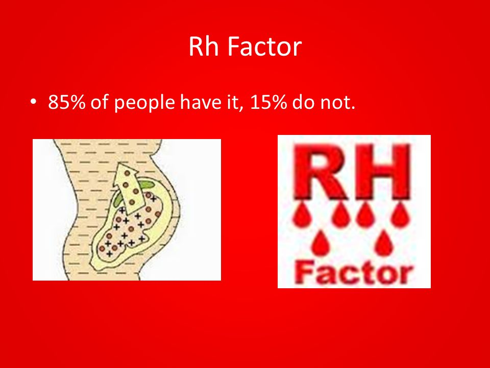 Rh Factor 85% of people have it, 15% do not.