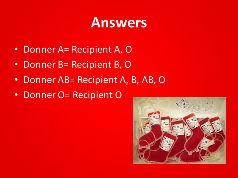 Answers Donner A= Recipient A, O Donner B= Recipient B, O Donner AB= Recipient A, B, AB, O Donner O= Recipient O