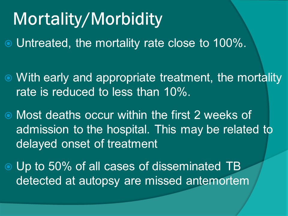Mortality/Morbidity  Untreated, the mortality rate close to 100%.