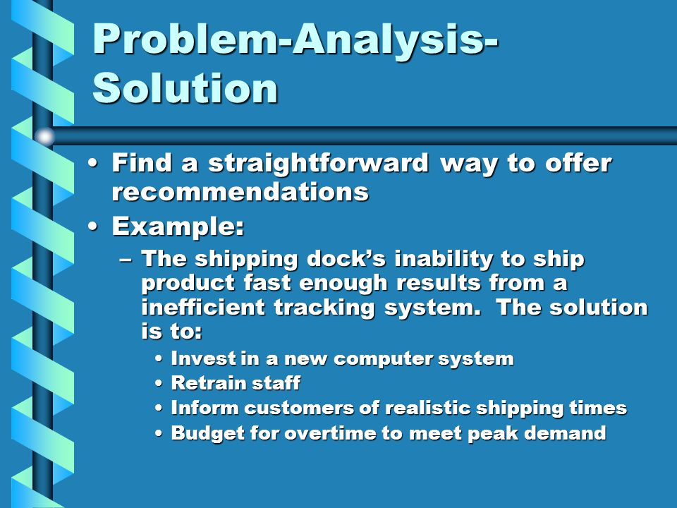 Problem-Analysis- Solution Find a straightforward way to offer recommendationsFind a straightforward way to offer recommendations Example:Example: –The shipping dock's inability to ship product fast enough results from a inefficient tracking system.