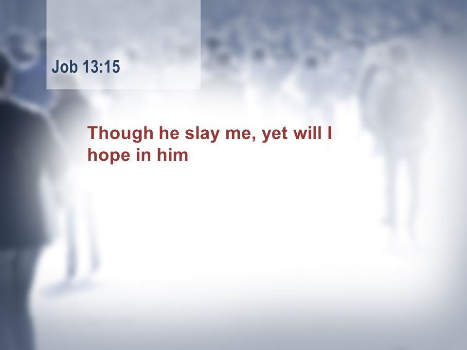 Though he slay me, yet will I hope in him Job 13:15