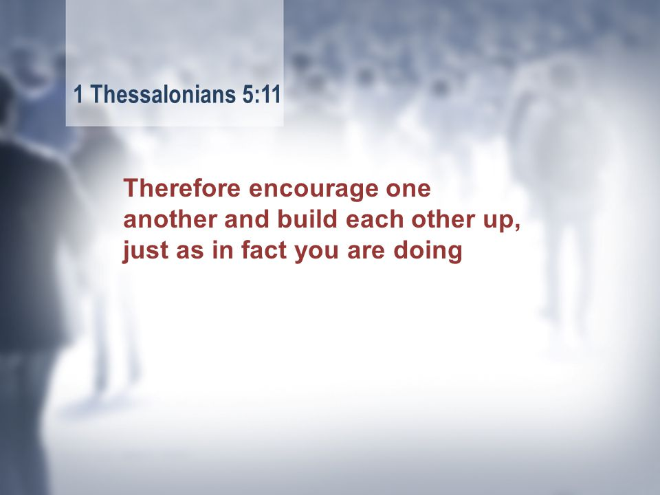 Therefore encourage one another and build each other up, just as in fact you are doing 1 Thessalonians 5:11