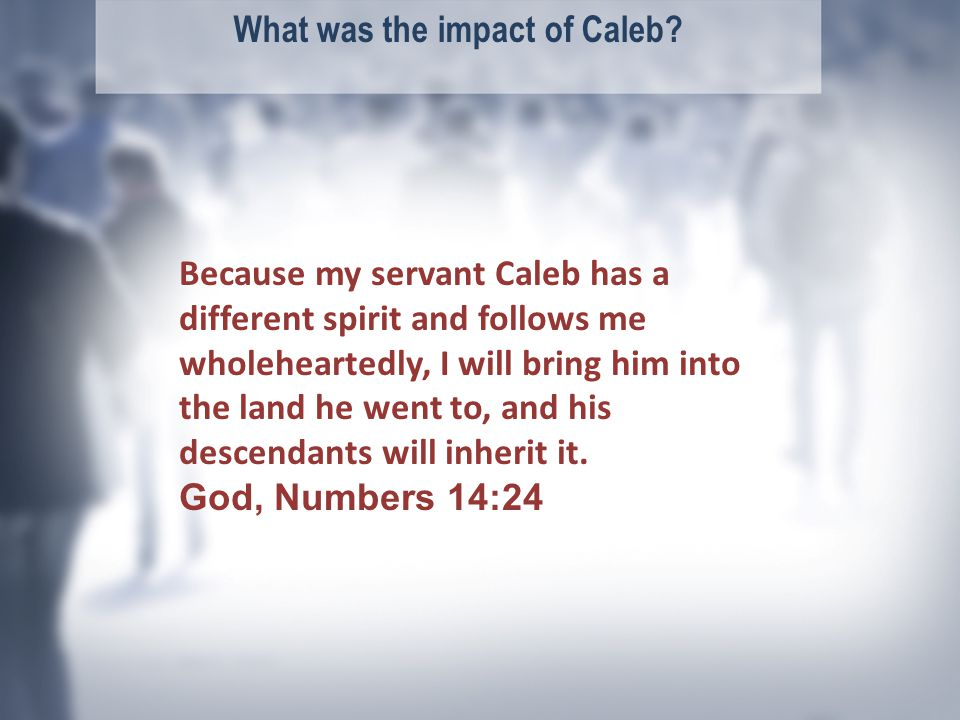 What was the impact of Caleb.