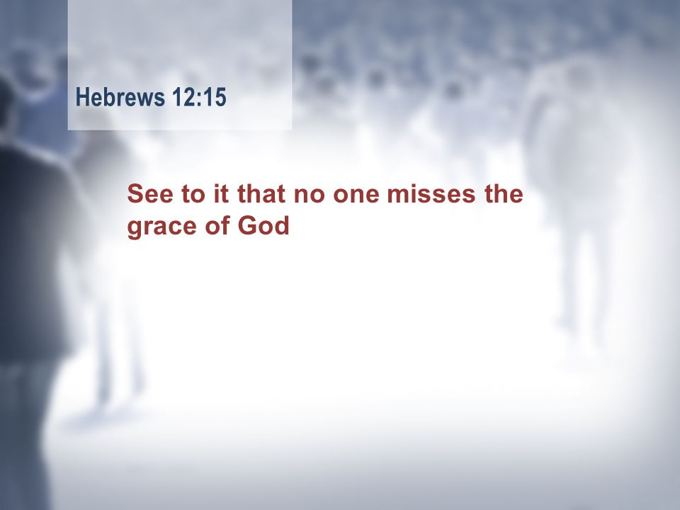 See to it that no one misses the grace of God Hebrews 12:15