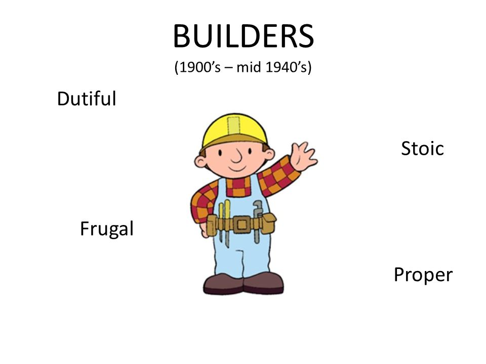 BUILDERS (1900's – mid 1940's) Dutiful Frugal Stoic Proper