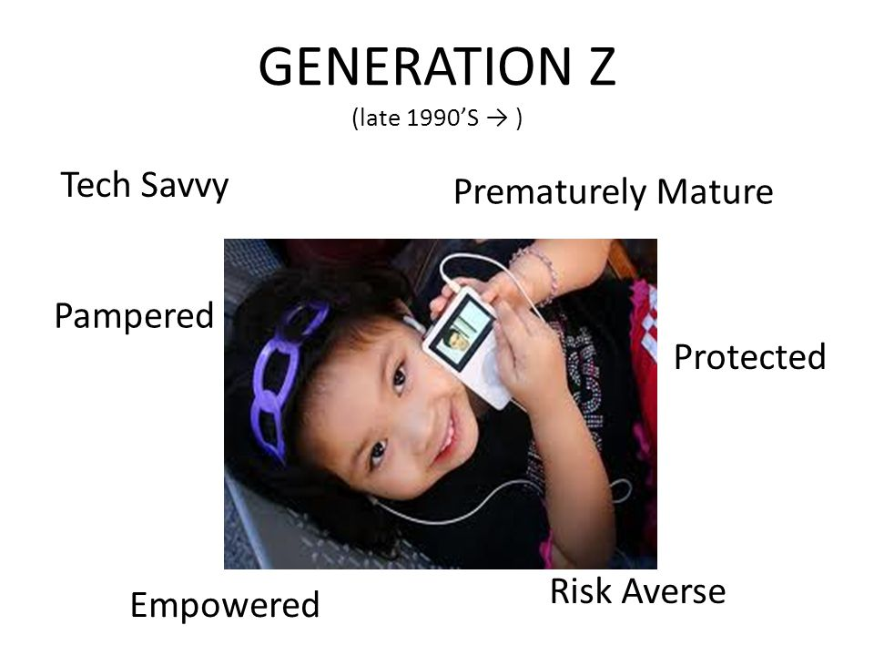 GENERATION Z (late 1990'S → ) Tech Savvy Prematurely Mature Pampered Empowered Protected Risk Averse