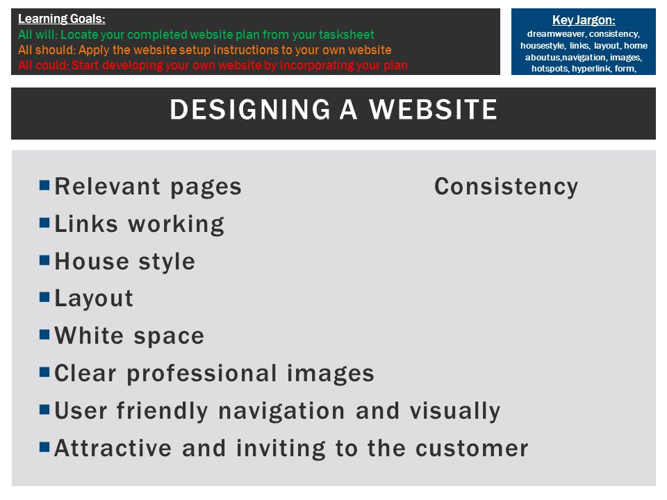 Key Jargon: dreamweaver, consistency, housestyle, links, layout, home aboutus,navigation, images, hotspots, hyperlink, form, Learning Goals: All will: Locate your completed website plan from your tasksheet All should: Apply the website setup instructions to your own website All could: Start developing your own website by incorporating your plan  Relevant pagesConsistency  Links working  House style  Layout  White space  Clear professional images  User friendly navigation and visually  Attractive and inviting to the customer DESIGNING A WEBSITE