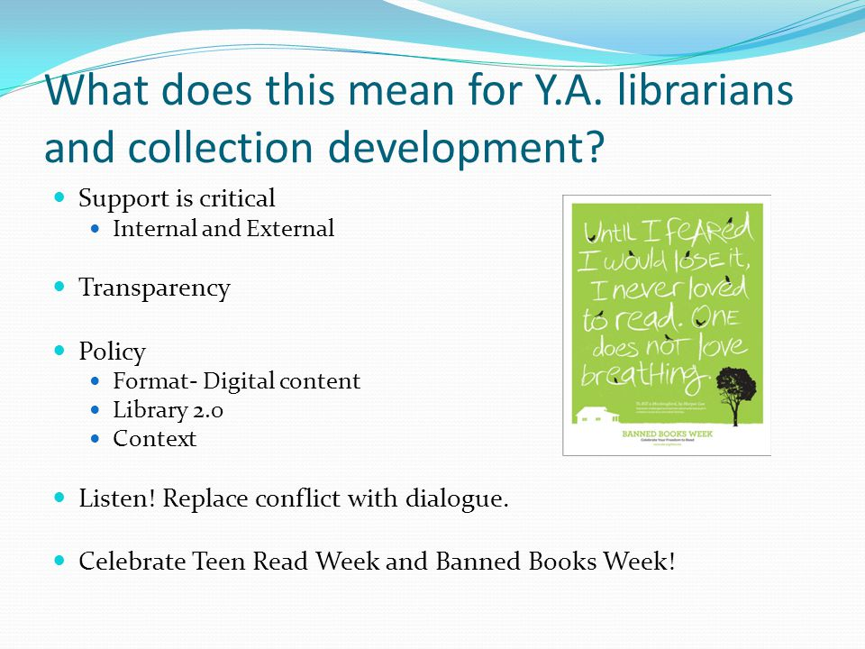 What does this mean for Y.A. librarians and collection development.