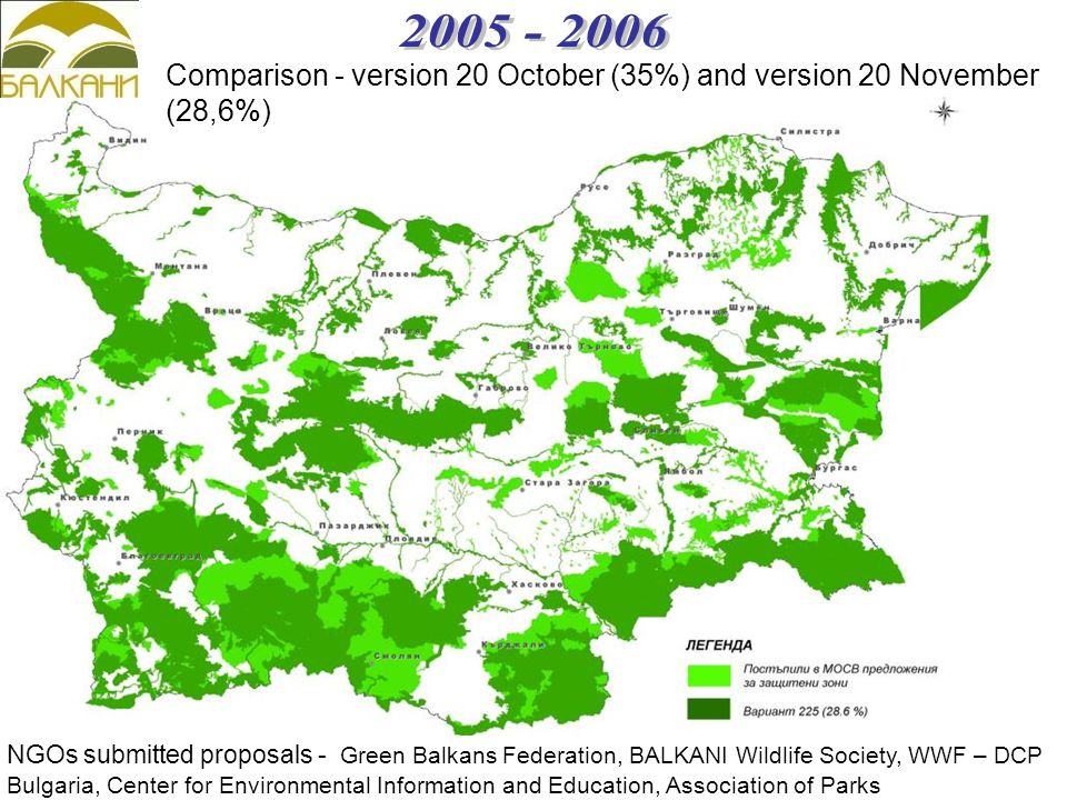 Comparison - version 20 October (35%) and version 20 November (28,6%) NGOs submitted proposals - Green Balkans Federation, BALKANI Wildlife Society, WWF – DCP Bulgaria, Center for Environmental Information and Education, Association of Parks