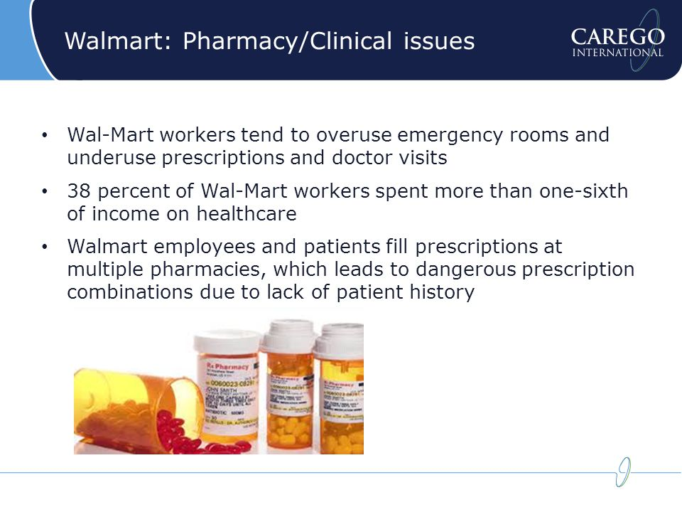 Walmart: Pharmacy/Clinical issues Wal-Mart workers tend to overuse emergency rooms and underuse prescriptions and doctor visits 38 percent of Wal-Mart workers spent more than one-sixth of income on healthcare Walmart employees and patients fill prescriptions at multiple pharmacies, which leads to dangerous prescription combinations due to lack of patient history