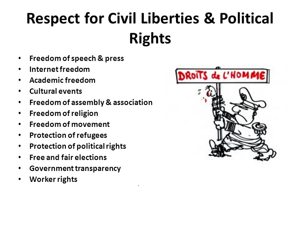 Respect for Civil Liberties & Political Rights Freedom of speech & press Internet freedom Academic freedom Cultural events Freedom of assembly & association Freedom of religion Freedom of movement Protection of refugees Protection of political rights Free and fair elections Government transparency Worker rights