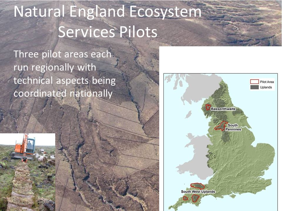 Natural England Ecosystem Services Pilots Three pilot areas each run regionally with technical aspects being coordinated nationally